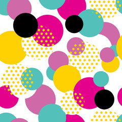 Fototapeta Seamless geometric pattern in retro 80s style. Pop art circle pattern on white background.