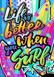 Life is better when you surf quote in hipster pop art style. Illustration poster, card, T-shirts, bags.