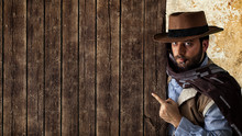 Gunfighter Pointing On Wooden ...