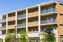 Apartment Building In Japan, Against Blue Sky