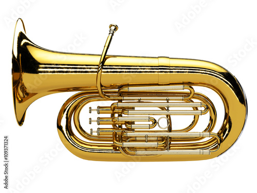Aged tuba isolated on white background Wallpaper Mural