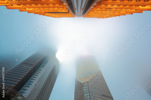 Shanghai Lujiazui architectural backgrounds fog Night Poster
