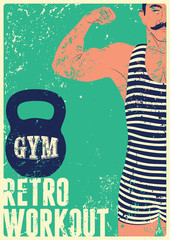 Panel Szklany Fitness / Siłownia Typographic Gym vintage grunge poster design with strong man. Retro vector illustration.