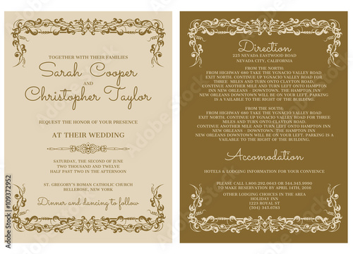 Wedding Invitation Card Invitation With Ornaments Kup Tę