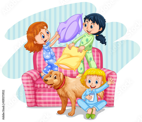 Photo Stands Kids Three girls playing pillow fight on sofa