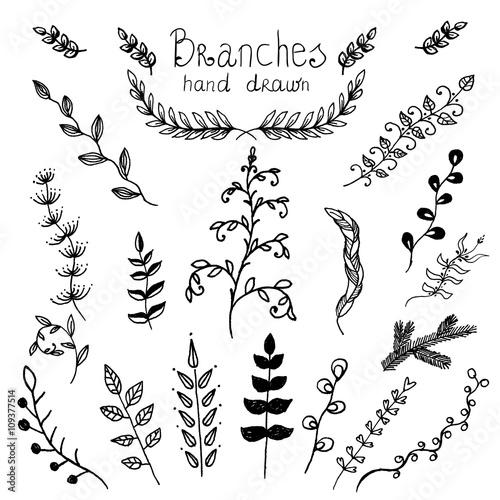 Vector elements, twigs drawn ink Fototapete