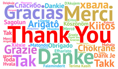 FototapetaThank You illustration word cloud in different languages