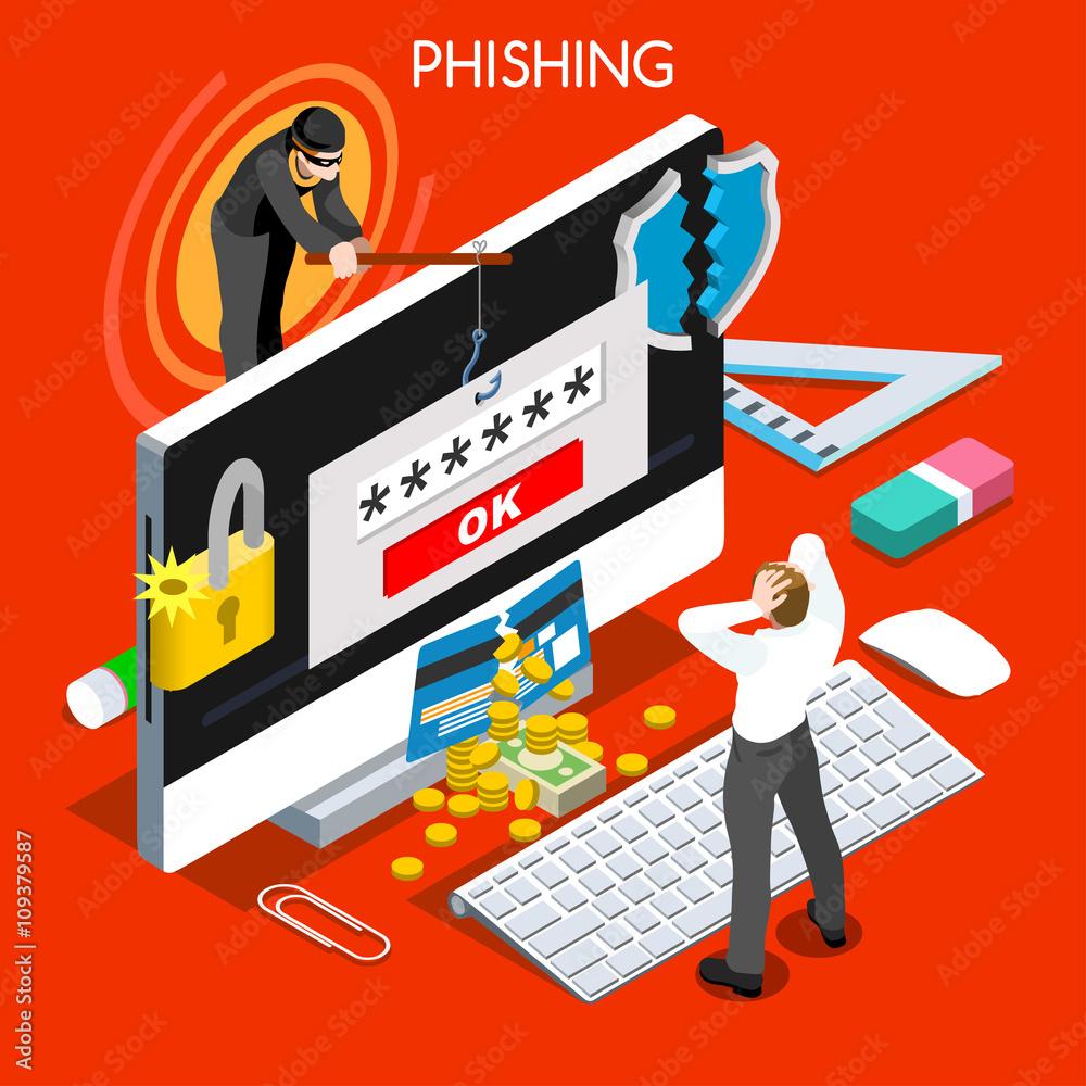 Fototapeta Hacker phishing infographic 3D flat isometric people design concept. Spam phishing attack risk threats for computer systems vector illustration