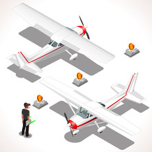 Airplane. Vector Ultralight Aircraft. Flat 3D Isometric Planes. Isometric Vehicles. Infographic Elements.