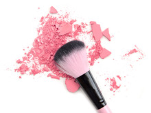 Pink Colored Powder And Beauty Tool Blusher