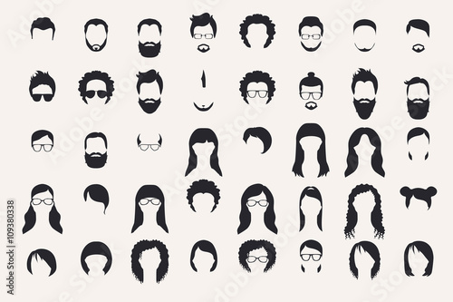 Fototapeta Set of monochrome icons. Hearstyle and beards.