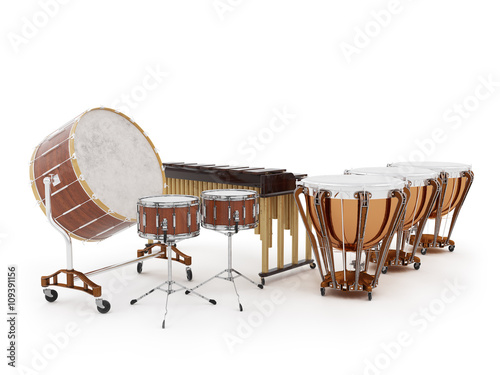 Orchestra drums isolated on white 3D rendering Fototapete