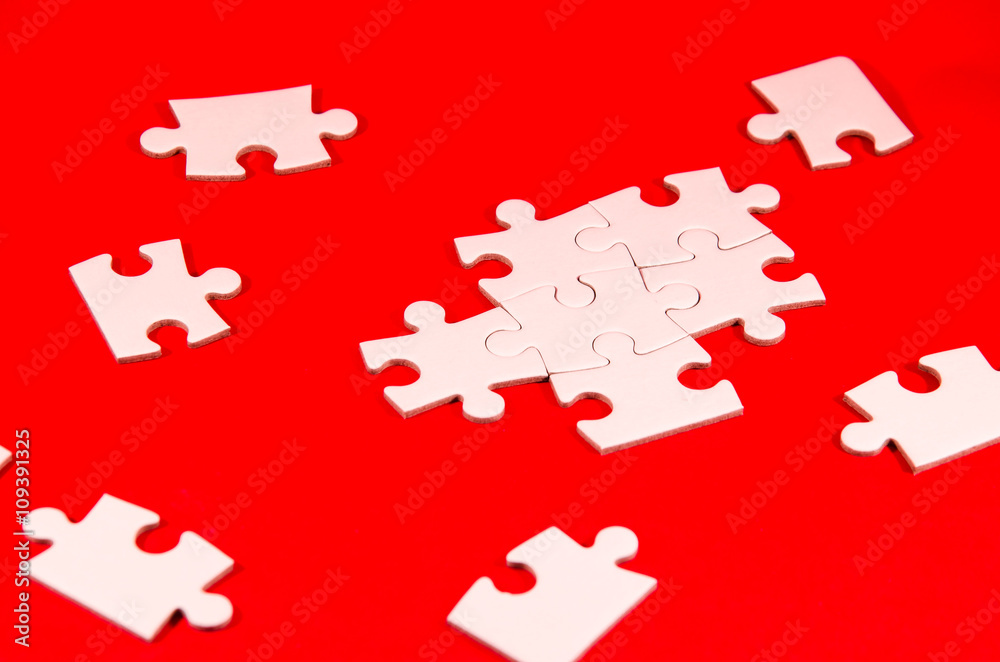 Photo Art Print Solving The Puzzle Still Life With A White Jigsaw