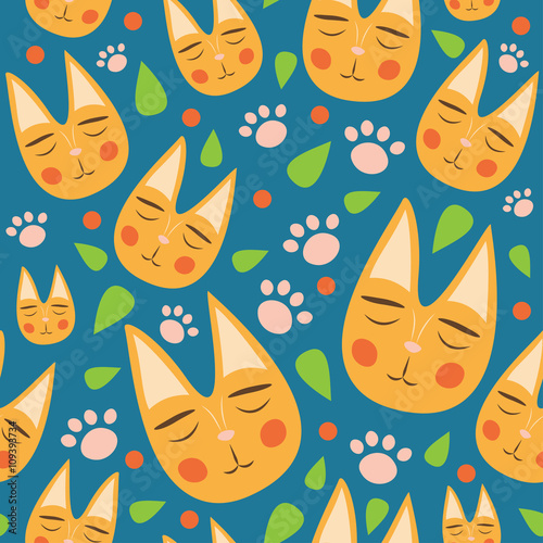 Red cats seamless pattern for kids with leaves and dots on blue background. Cute cats for fabric, textile, baby clothes. Colorful vector. Funny kitty texture. Doodles for your design. Cartoon style.
