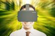 Virtual reality helmet abstract green