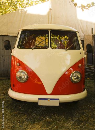 VW,Kombi,vintage,oldfashioned,,Bus,Oldtimer,van,grass,leafs,green,red,white,hips Poster
