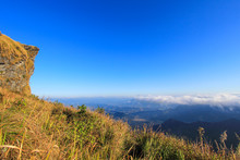 Sunny Day At Phu Chi Fa(a Mountain Area And National Forest Park In Thailand,a Part Of Doi Pha Mon,located At The Northeastern End Of Phi Pan Nam Range,Thoeng District,Chiang Rai Province)