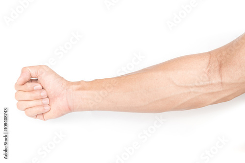 Obraz na plátne Man arm with blood veins on white background