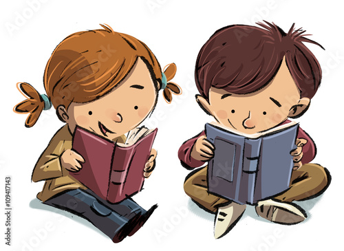 Niño Leyendo Un Libro Colouring Pages Page 2: Buy This Stock Illustration And
