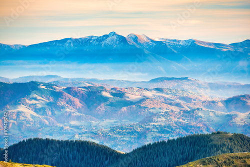 Wall Murals Blue Blue mountains and hills at sunset
