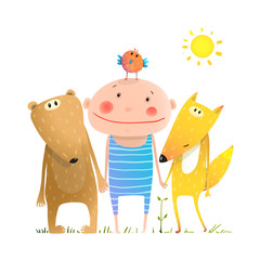 Fototapeta Do pokoju dziecka Animals and child friends fox bear bird kid childish funny in nature cartoon