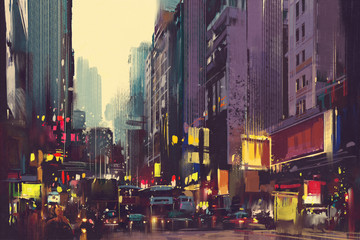 Fototapeta City traffic and colorful light in Hong Kong,illustration painting