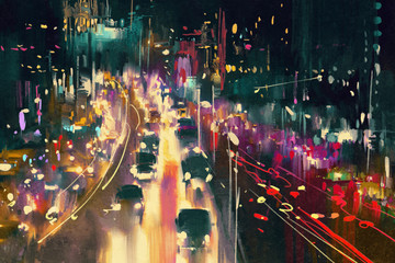 Fototapeta Uliczki light trails on the street at night,illustration digital painting