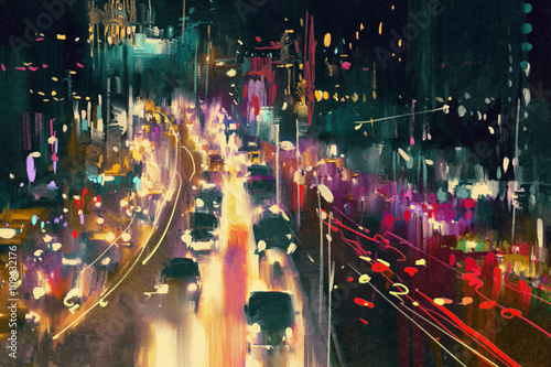 light trails on the street at night,illustration digital painting