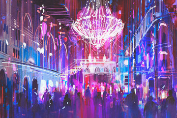 Fototapetainterior night club with bright lights,illustration painting