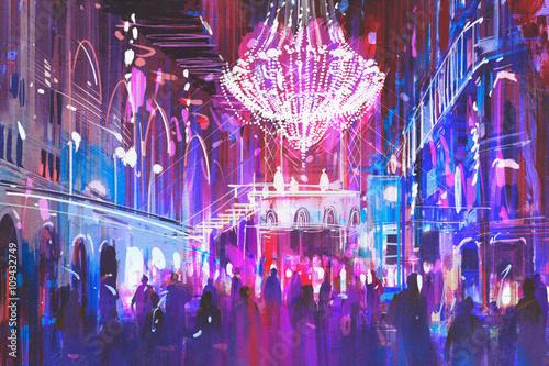 interior night club with bright lights,illustration painting - 109432749