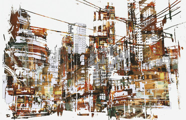 Fototapetaillustration painting of urban city with grunge texture