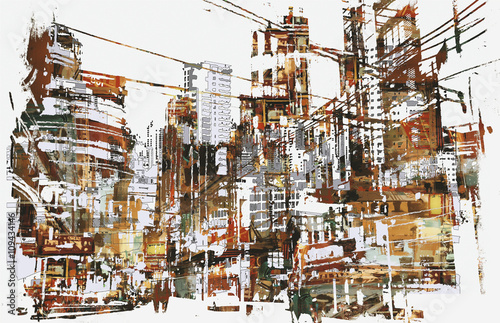 illustration painting of urban city with grunge texture - 109434146