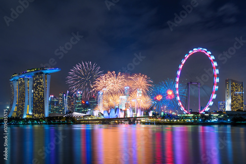 skyline of singapore at marina bay Poster