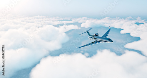 Fotografia Photo of black luxury generic design private jet flying over the earth