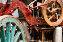 Old Steam Fire Engine On Display At Train Museum.