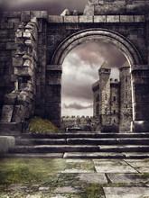 Ruiny Kamiennego Muru, W Tle Baśniowy Zamek