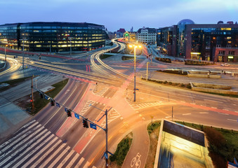 Road junction in Wroclaw in the evening. Poland