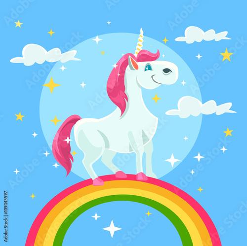 Poster Pony Unicorn vector flat cartoon illustration