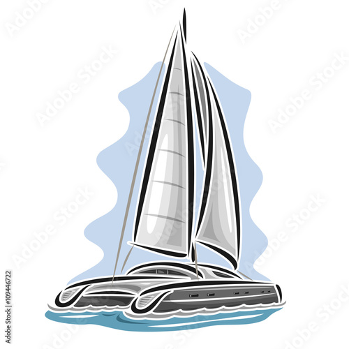 Slika na platnu Vector logo sailing catamaran, sailboat, sailer, sloop, ship, sail boat, floating blue sea, ocean, waves