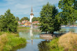 Summer in idyllic small town Mariefred. This historic town on Lake Malaren is a popular tourist destination in Sweden.
