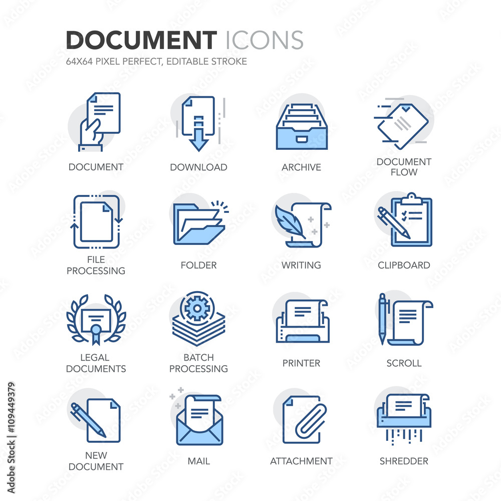 Fototapeta Blue Line Documents Icons