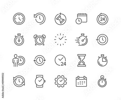 Line Time Icons Wall mural