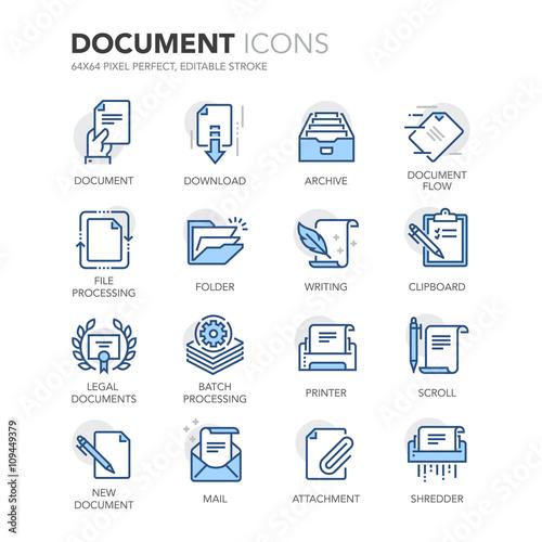 Blue Line Documents Icons - fototapety na wymiar