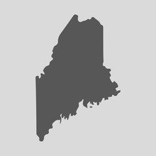 Black Map State Maine - Vector Illustration.