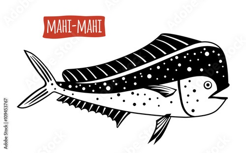 Fotografie, Obraz  Mahi-mahi, vector cartoon illustration
