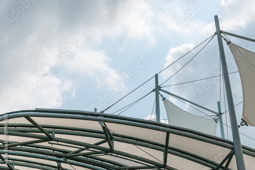 Fotobehang Stadion Modern curve canopy of the new building.