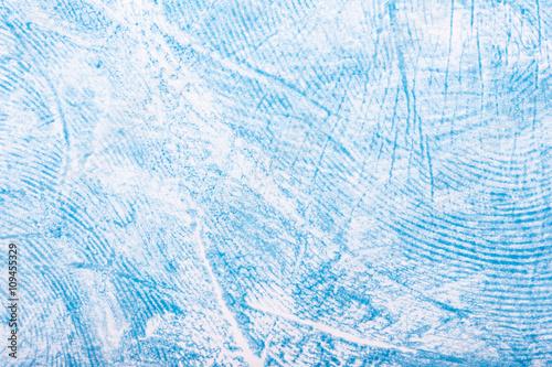 Fényképezés  Hand print made with blue paint closeup texture pattern.