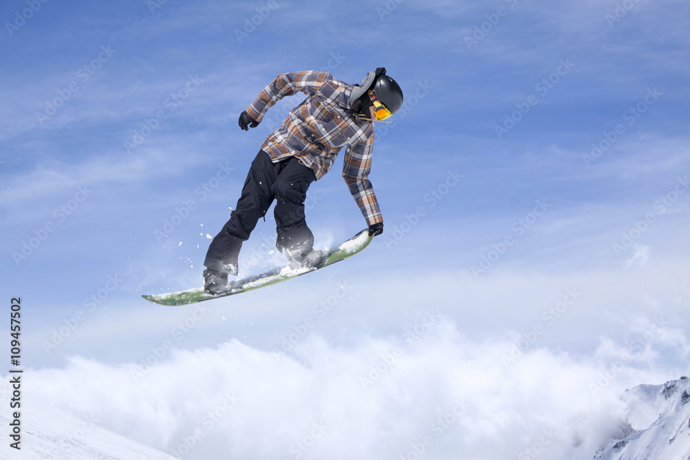 Snowboard Rider Jumping On Mountains Extreme Snowboard