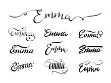 Personal Name Emma. Vector Han...