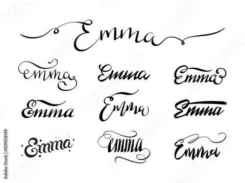 8ab9c7d8b6392 Personal name Emma. Vector handwritten calligraphy tattoo design set ...
